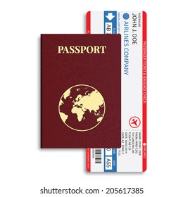 Airline passenger and baggage ( boarding pass ) tickets with barcode and international passport. Rasterized version.