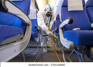 Airline plane deep cleaning  for coronavirus (Covid-19) prevention.