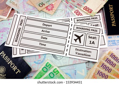 Airline tickets with foreign money and passports