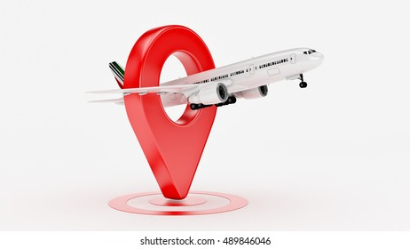 Airline travel concept. Airport pointer. Airplane and pin isolated on white. 3d rendering