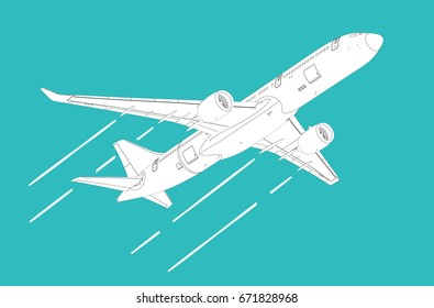 Airliner, 3D illustration, clipping path included