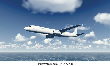 Airliner flying through the cloudy sky above the ocean. Realistic 3D illustration was done from my own 3D rendering file.