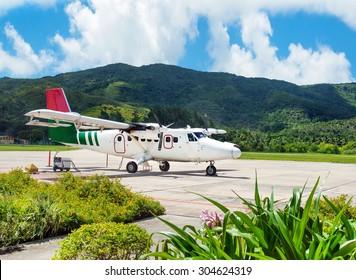Airliner in Iles des Palmes Airport (IATA: PRI, ICAO: FSPP), Grand Anse, Praslin Island, Seychelles