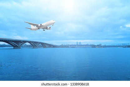 Airliner over the river the sun is shining