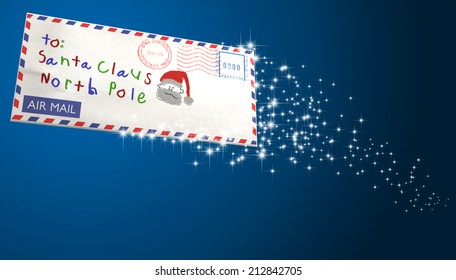 An airmail envelope  addressed to santa claus flying through the air with a sparkling trail on an isolated blue background
