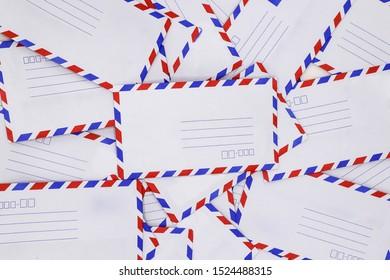 Airmail envelopes  on white background.