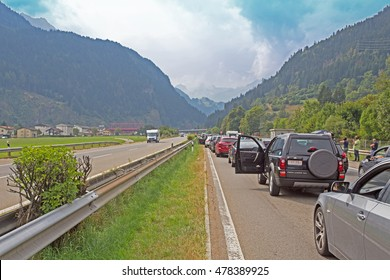 AIROLO, SWITZERLAND - 04 SEPTEMBER 2016 : traffic congestion at the South entrance of Gotthard Tunnel in Switzerland. Gotthard Tunnel in Switzerland is the longest road tunnel in the Alps.