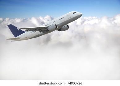 Airplane above sky