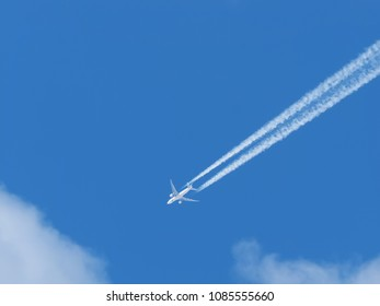 airplane against the blue sky
