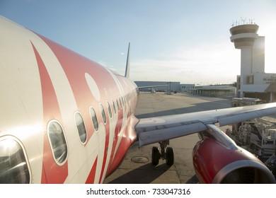 a airplane of Air Asia at the Don Muang Airport in Bangkok in Thailand in southeastasia, thailand, bangkok, november 2015.