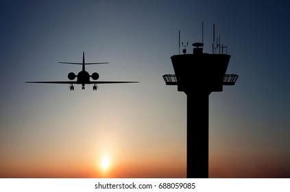 airplane and air tower on the sunset 3d rendering