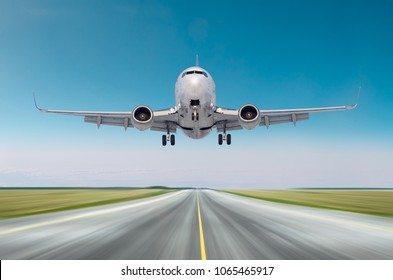 Airplane aircraft flying departure after flight, landing speed motion on a runway in the good weather clear sky day