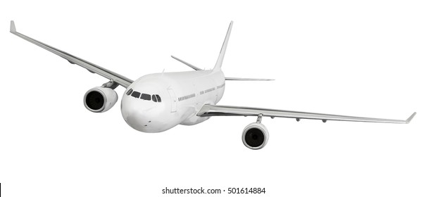 airplane aircraft transport aeroplane transportation travel traveler flight fly air plane trip jet business isolated white background concept - stock image