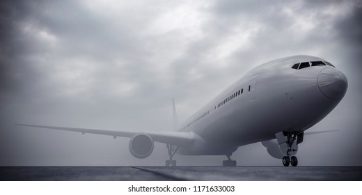 Airplane at the airport during the fog. Bad visibility in airport. Overcast in airport. Airplane in mist.