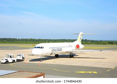 Airplane at Airport Paderborn-Lippstadt in Germany, 05-26-2020