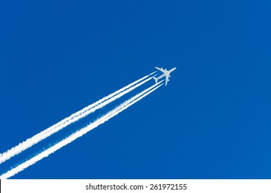 Airplane aviation airport contrail the clouds