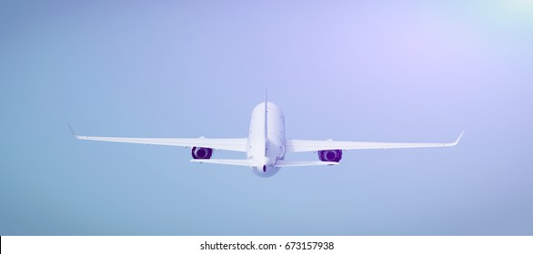 Airplane, back view, 3D illustration