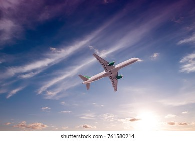 Airplane with beautiful sky on background.
