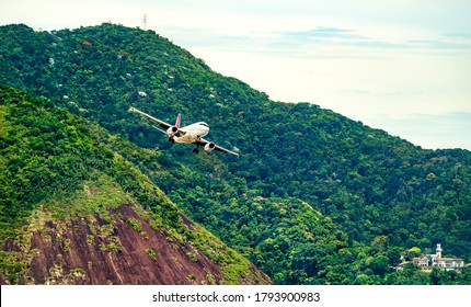 Airplane before landing at Rio de Janeiro-Santos Dumont Airport in Brazil