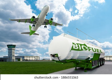Airplane and biofuel tank trailer on the background of airport. New energy sources