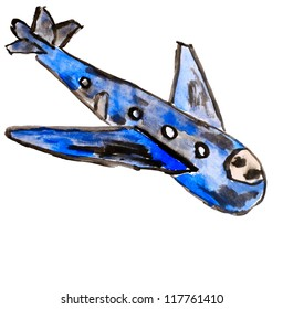 airplane blue aircraft watercolor on white background
