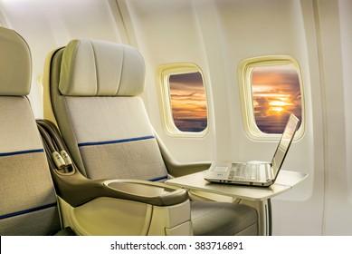 Airplane cabin business class interior
