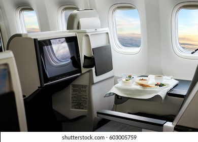 Airplane cabin business class iterior