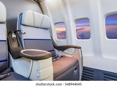 Airplane cabin interior view