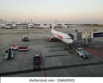 Airplane chiang rai, Thailand- March 8, 2019 : Lion air Airplane stop for support service and transfer passenger, this picture was capture at airport waiting hall