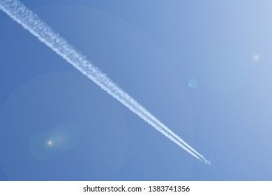Airplane at clear ble sky