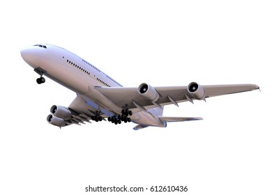 Airplane in close-up landing isolated Moving Up and High Angle side View