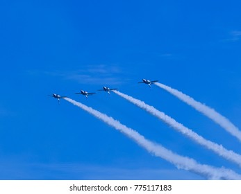 airplane clouds on blue sky background