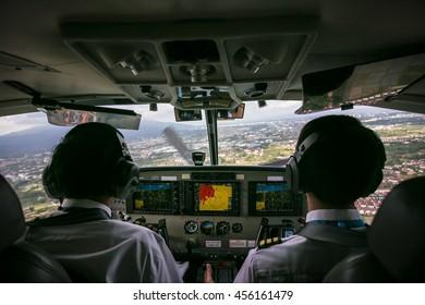 Airplane Cockpit before landing