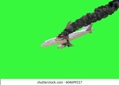 Airplane crash isolated on green screen.