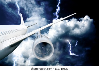 airplane crash in a storm with lightning concept. accident airplane in the sky. emergency landing. flights in bad weather