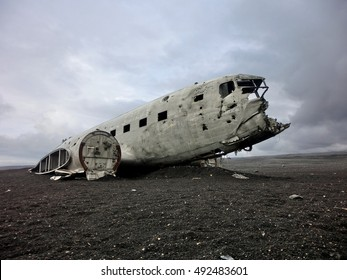 Airplane crash wreckage United States DC-3 in Iceland