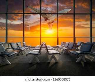 airplane departure  at sunset