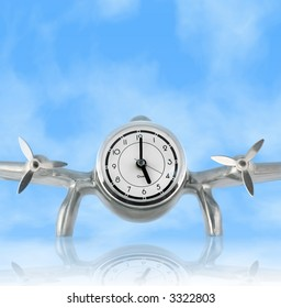 Airplane Desk Clock against Blue Sky with reflection; Concept: Time Flies; Clock set to 5:00