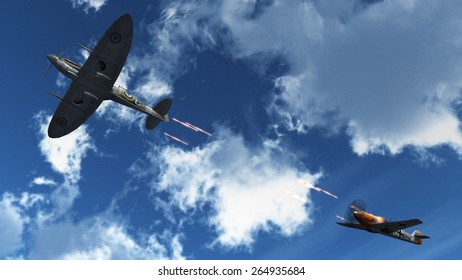 Airplane in dogfight with Supermarine Spitfire