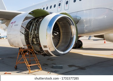 Airplane engine repair. Aircraft maintenance. Aviation technology. Airplane repair. Airport services.