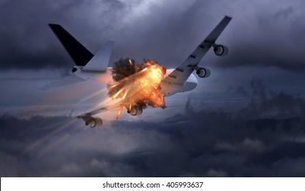 Airplane explosion 3D rendering