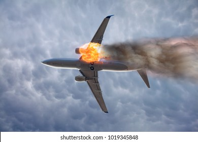 Airplane explosion with engine on fire