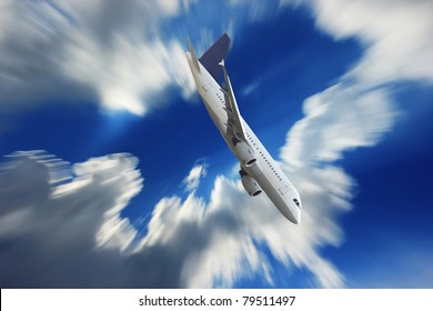 Airplane falling down the sky
