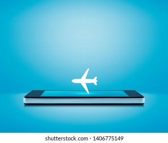 Airplane flat icon on modern smart mobile phone screen over gradient light blue background, Business transportation online concept
