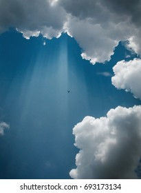 An Airplane Flies Through Sun Rays and Clouds