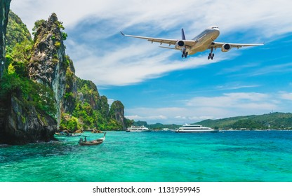 Airplane fly above beautiful nature landscape island with tourist boats parked on sea beach waiting for traveler, Tourism destination Asia, Background for banner summer holiday vacation travel trip