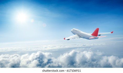 Airplane flying above clouds - 3D Rendering