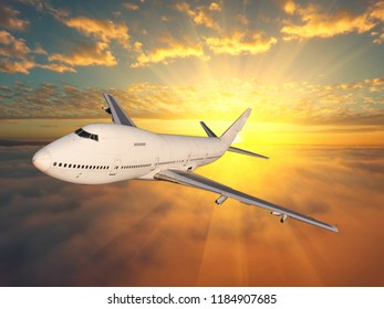 Airplane flying above clouds in  sunset light  Travel and transportation concept