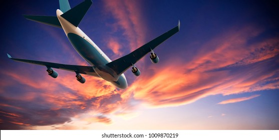 Airplane flying in a cloudy sunset: 3D illustration