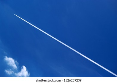 An airplane flying high on the Finnish blue sky